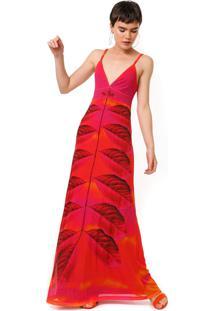 Vestido Desigual Longo Tule Marcela Pink/Laranja