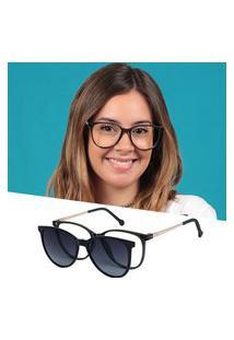 Armação De Grau Óculos De Sol Clipon Feminino Redondo Cinza Isabela Dias