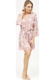 Robe Floral Com Renda- Rosa Claro & Lilã¡S- Fruit De Fruit De La Passion