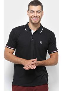 Camisa Polo Broken Rules Detalhe Listrado Masculina - Masculino-Preto