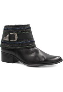 Bota Cano Curto Zariff Shoes Ankle Boot Fivela Preto