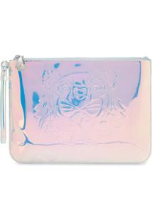 Kenzo Tiger Holographic-Effect Clutch - Branco