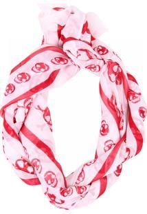 Lenço Real Arte Estampa Caveira Branco E Vermelho