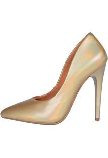 Scarpin Factor Salto Alto - Metalizado Dourado - Tricae