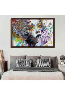 Quadro Love Decor Com Moldura Abstract Face Madeira Escura Grande