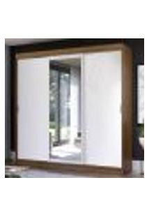 Guarda-Roupa Casal Madesa Istambul 3 Portas De Correr Com Espelho 3 Gavetas - Rustic/Branco