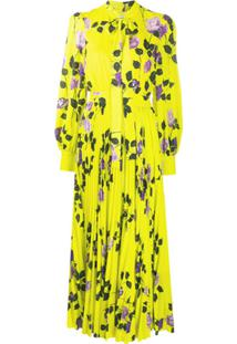 Msgm Vestido Com Pregas E Estampa De Rosa - Amarelo