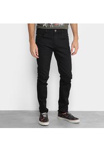 Calça Jeans Skinny Triton Lavagem Escura Masculina - Masculino-Preto