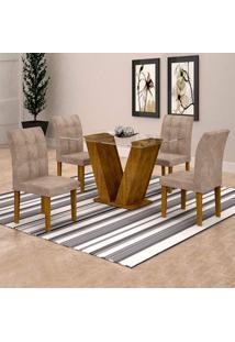 Conjunto De Mesa De Jantar Classic Com 4 Cadeiras Vitória Veludo Ypê
