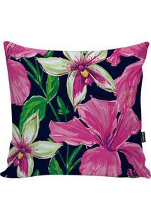 Capa De Almofada Flowers- Preta & Rosa Escuro- 45X45Stm Home