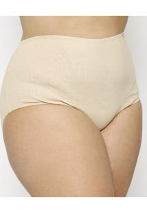 Calcinha Hot Pants Canelada Plus Size- Bege- Hopehope