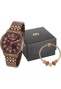 Kit Relógio Feminino Mondaine Analógico - 53673Lpmvme2Ka Com Acessórios - Feminino-Marrom