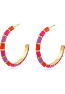 Brinco Viva Jolie Argola Colors Laranja E Pink Grande Banho Em Ouro