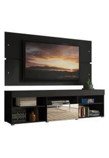 Rack Com Painel Para Tv Até 65 Polegadas Madesa Dublin 1 Porta Com Espelho Preto