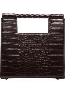 Mehry Mu Unicorn Croc-Effect Boxy Bag - Marrom
