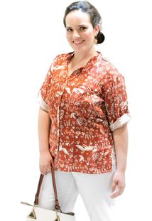 Camisa Contemporânea Plus Size Vickttoria Vick Plus Size Caramelo