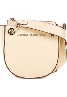 Bolsa Couro Jorge Bischoff Mini Bag Transversal Argolas Feminina - Feminino-Creme