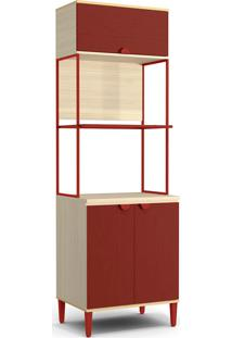 Armário Para Forno E Micro-Ondas Po015 3 Portas - Kappesberg Pop - Pine / Marsala