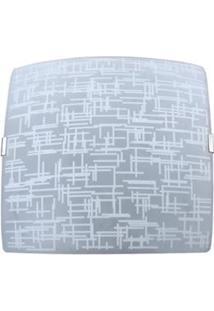 Plafon Sobrepor Attena Quadrado Pequeno 21Cm Texturas Em Vidro – Branco