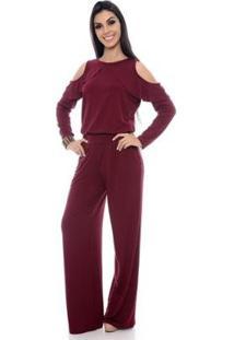 Macacão Pantalona B'Bonnie Ombro Vazado Clara Feminino - Feminino-Vinho