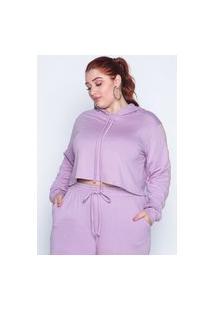 Blusa Almaria Plus Size Kayla Capuz Roxo