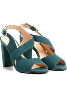 Sandália Couro Shoestock Salto Grosso Feminina - Feminino-Azul Petróleo