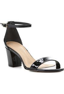 Sandália Shoestock Verniz Salto Médio - Feminino-Preto