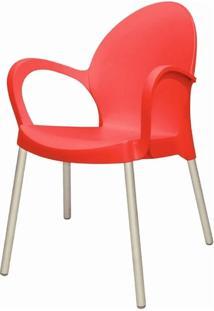 Cadeira Grace Base Aluminio Anodizado Cor Vermelho - 20047