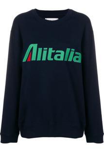 Alberta Ferretti Blusa De Moletom Com Patch 'Alitalia' - Azul