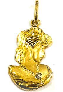 Pingente Prata Madona De Ouro C/ Zirconia Ouro