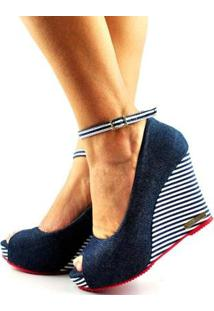 Sandália Anabela Antônia Domingues Salto Alto Feminina - Feminino-Jeans