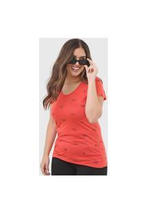 Camiseta Polo Wear Reta Lettering Laranja/Preta