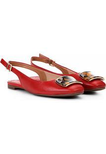 Sapatilha Loucos&Santos Slingback Chanel Pedraria Feminina - Feminino-Vermelho