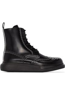 Alexander Mcqueen Ankle Boot Com Detalhe Perfurado - Preto