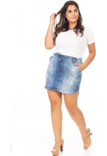 Saia Curta Jeans Com Cordão Plus Size Confidencial Extra Feminina - Feminino-Azul