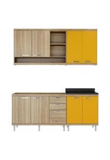 Cozinha 4 Módulos 8 Portas 3 Gavetas Argila E Amarelo Multimóveis