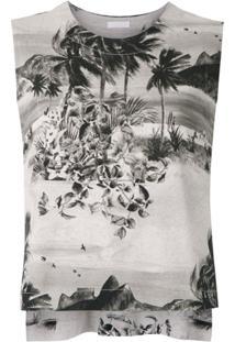 Osklen Blusa Sleeveless De Tricô Estampada - Neutro