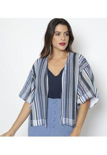 Kimono Texturizado- Azul & Azul Marinho- Aboutabout