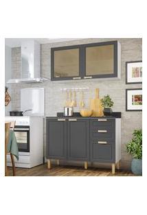 Cozinha Completa 3 Peças Americana Multimóveis 5924 Branco/Grafite