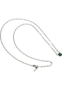 Colar Key Design Asher Prata/Verde