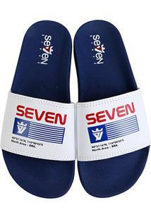 Chinelo Slide Seven Brand Nasa Masculino - Masculino-Branco+Azul