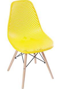 Cadeira Eames Colmeia- Amarela & Bege- 82,5X46,5X42Cor Design