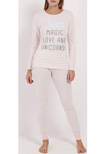 Pijama Longo Em Malha Feminino Rosa