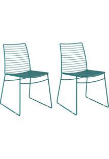 Kit 2 Cadeiras 1712 Turquesa - Carraro Móveis