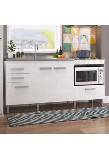 Balcão De Cozinha Para Pia Roma Com Espaço Para Cooktop E Forno Branco - Pnr Móveis