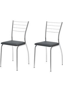 Kit 2 Cadeiras 1700 Jeans/Cromado - Carraro Móveis