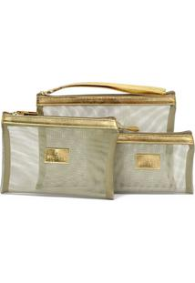 Kit 3 Necessaire Equipage 6593 Tela Ouro