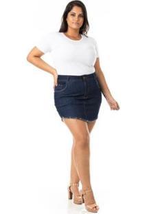 Saia Curta Jeans Tradicional Plus Size Confidencial Extra Feminina - Feminino-Azul