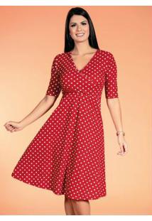 Vestido Poá Vermelho Moda Evangélica