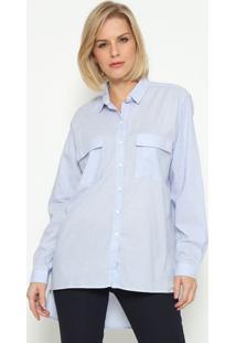Camisa Lisa Com Bolsos - Azul Clarocalvin Klein